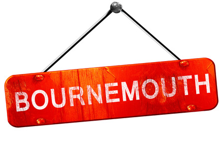 bournemouth: Bournemouth, 3D rendering, a red hanging sign Stock Photo