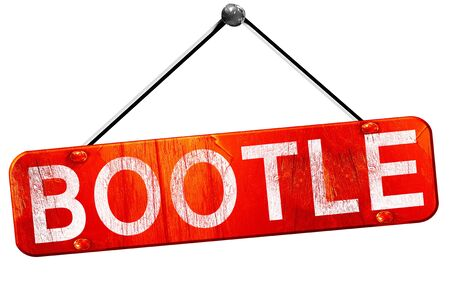 bootle: Bootle, 3D rendering, a red hanging sign Stock Photo