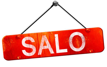 salo: Salo, 3D rendering, a red hanging sign Stock Photo
