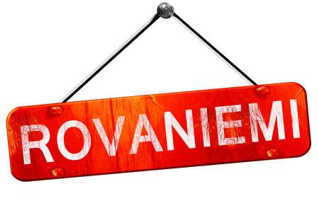 rovaniemi: Rovaniemi, 3D rendering, a red hanging sign