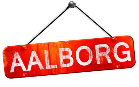 Aalborg, 3D rendering, a red hanging sign Stock Photo