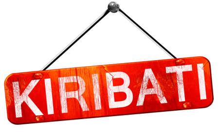 kiribati: Kiribati, 3D rendering, a red hanging sign