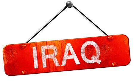 iraq: Iraq, 3D rendering, a red hanging sign Stock Photo