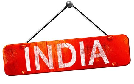 india 3d: India, 3D rendering, a red hanging sign
