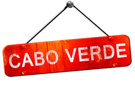 cabo: Cabo verde, 3D rendering, a red hanging sign Stock Photo