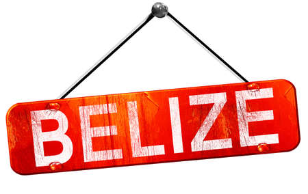 tourism in belize: Belize, 3D rendering, a red hanging sign