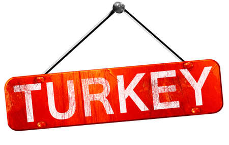3d turkey: Turkey, 3D rendering, a red hanging sign