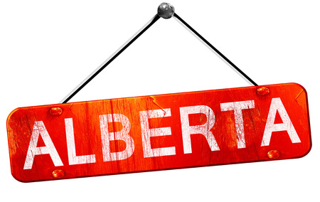Alberta, 3D rendering, a red hanging sign