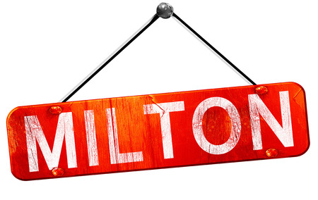 milton: Milton, 3D rendering, a red hanging sign