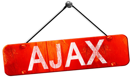 ajax: Ajax, 3D rendering, a red hanging sign