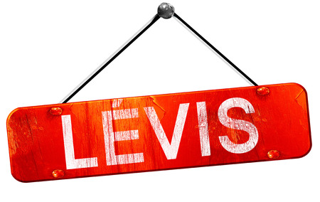 levis: Levis, 3D rendering, a red hanging sign Stock Photo