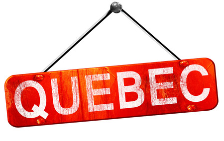 quebec: Quebec, 3D rendering, a red hanging sign Stock Photo