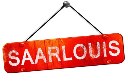 saarlouis: Saarlouis, 3D rendering, a red hanging sign