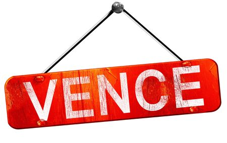 vence: vence, 3D rendering, a red hanging sign Stock Photo