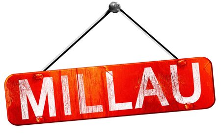 millau: millau, 3D rendering, a red hanging sign