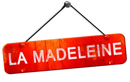 the madeleine: la madeleine, 3D rendering, a red hanging sign Stock Photo
