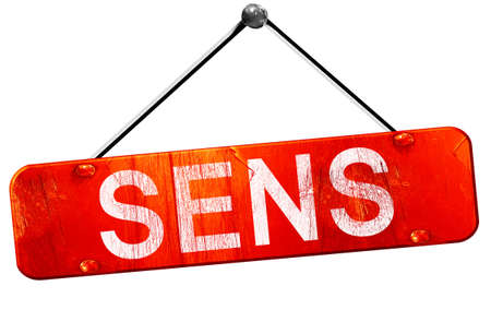 sens: sens, 3D rendering, a red hanging sign