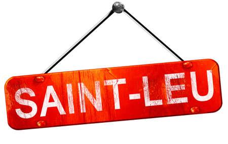 leu: saint-leu, 3D rendering, a red hanging sign