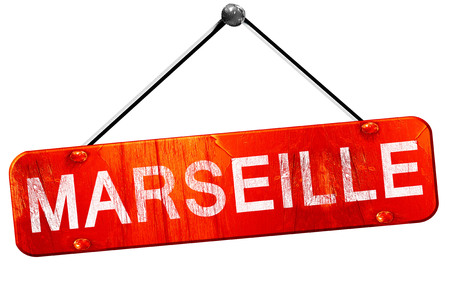 marseille: marseille, 3D rendering, a red hanging sign Stock Photo