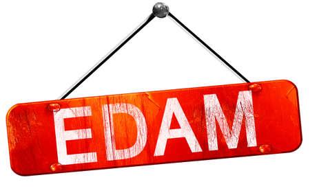 edam: Edam, 3D rendering, a red hanging sign Stock Photo