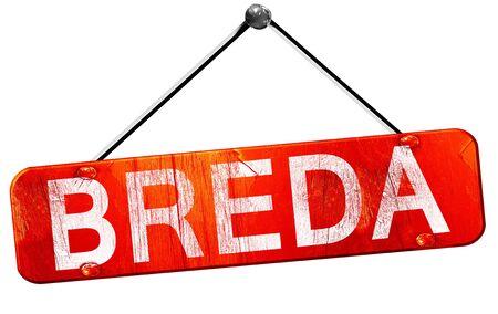 breda: Breda, 3D rendering, a red hanging sign