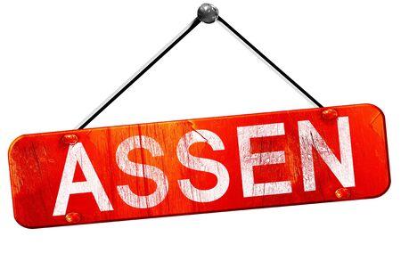 assen: Assen, 3D rendering, a red hanging sign