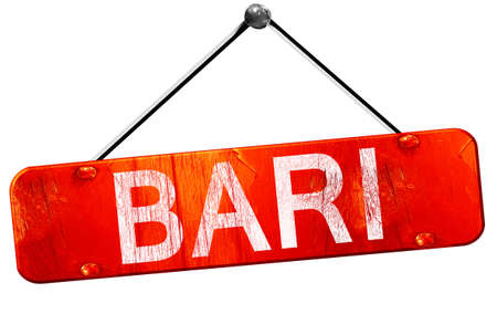 bari: Bari, 3D rendering, a red hanging sign