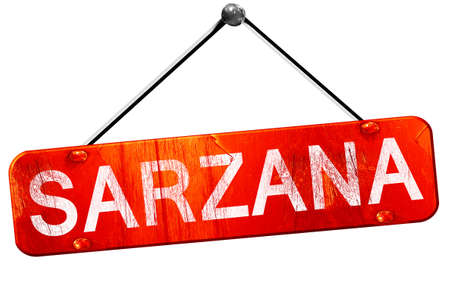 sarzana: Sarzana, 3D rendering, a red hanging sign