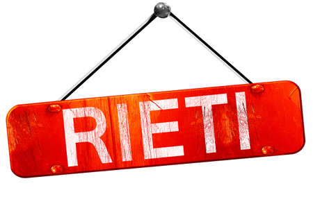rieti: Rieti, 3D rendering, a red hanging sign