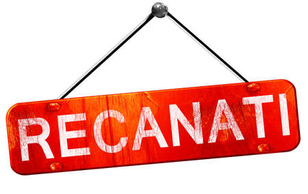 recanati: Recanati, 3D rendering, a red hanging sign