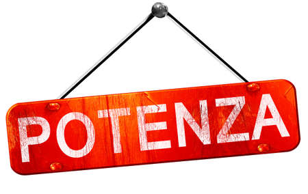 potenza: Potenza, 3D rendering, a red hanging sign