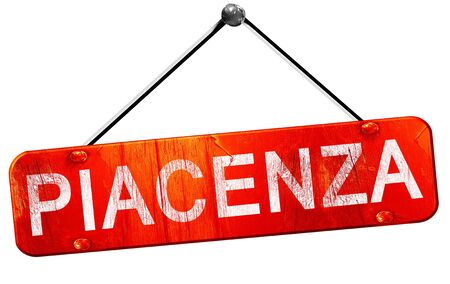 piacenza: Piacenza, 3D rendering, a red hanging sign