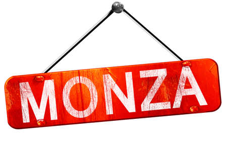 monza: Monza, 3D rendering, a red hanging sign