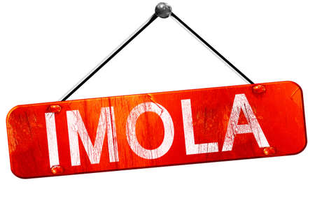 imola: Imola, 3D rendering, a red hanging sign