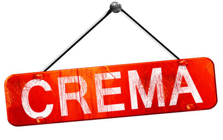 crema: Crema, 3D rendering, a red hanging sign Stock Photo