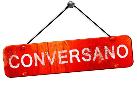 Conversano, 3D rendering, a red hanging sign Stock Photo
