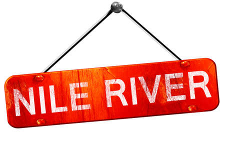 nile river: nile river, 3D rendering, a red hanging sign Stock Photo