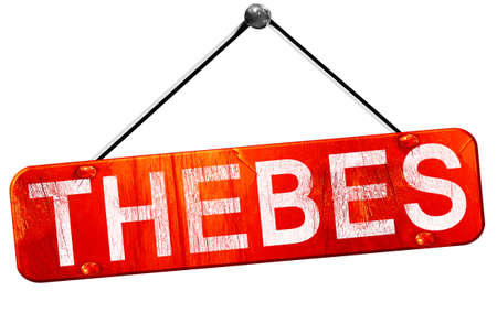 thebes: thebes, 3D rendering, a red hanging sign Stock Photo