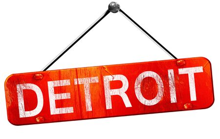 detroit: detroit, 3D rendering, a red hanging sign Stock Photo