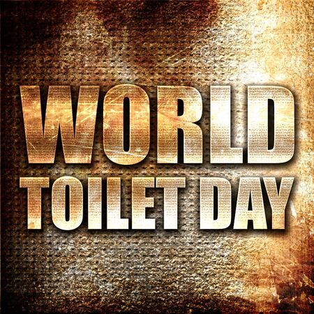 healthcare facilities: world toilet day, 3D rendering, metal text on rust background