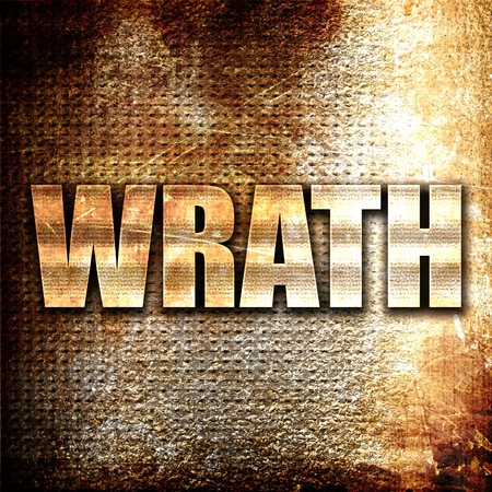 wrathful: wrath, 3D rendering, metal text on rust background Stock Photo