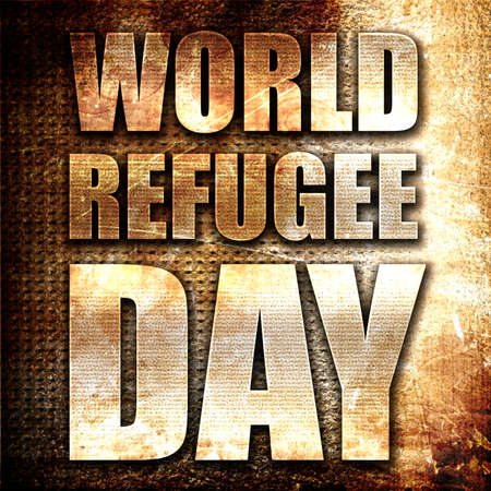 refugee: world refugee day, 3D rendering, metal text on rust background