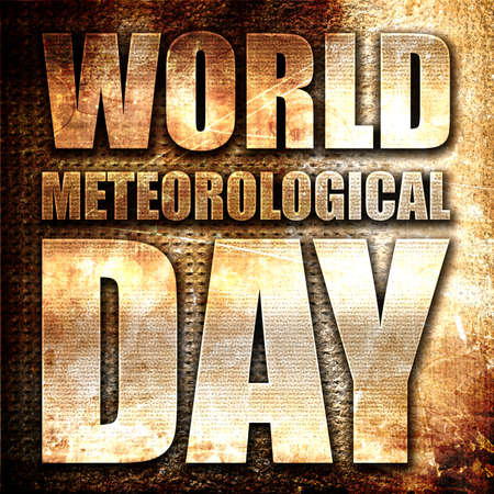 meteorological: world meteorological day, 3D rendering, metal text on rust background Stock Photo