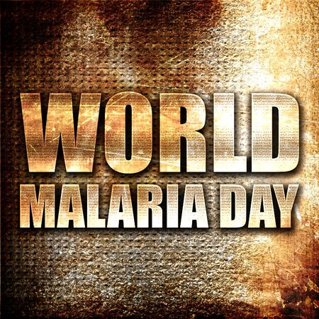 malaria: world malaria day, 3D rendering, metal text on rust background