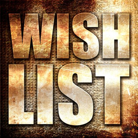 wishlist: wishlist, 3D rendering, metal text on rust background
