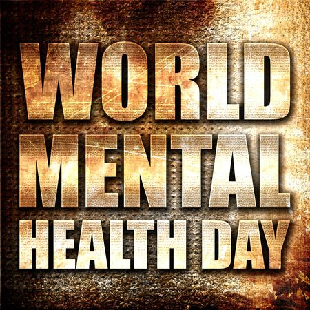 developmental disorder: world mental health day, 3D rendering, metal text on rust background Stock Photo