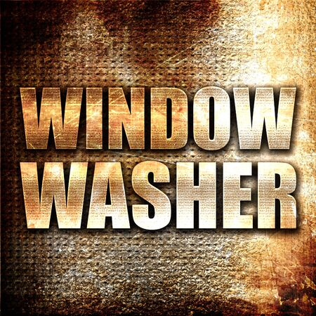 window washer: window washer, 3D rendering, metal text on rust background