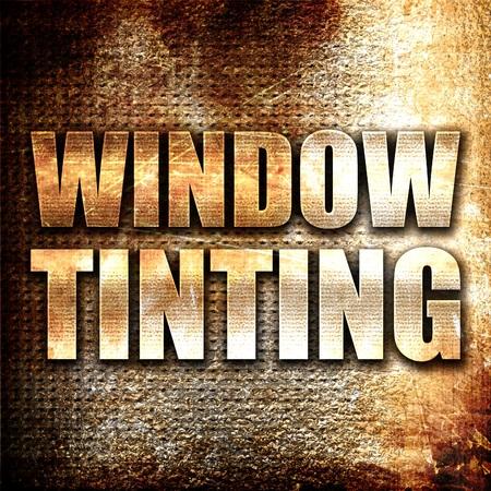 finestra colorazione, il rendering 3D, il testo di metallo su sfondo ruggine