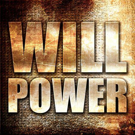 willpower: willpower, 3D rendering, metal text on rust background