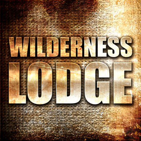 lodge: wilderness lodge, 3D rendering, metal text on rust background Stock Photo